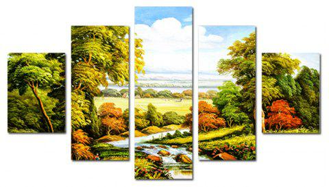 QiaoJiaHuaYuan No Frame  Room Sofa Background Natural Landscape Painting 5PCS - multicolor