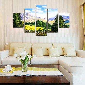 QiaoJiaHuaYuan Modern Simple Living Room Forest Landscape Print 5PCS - multicolor