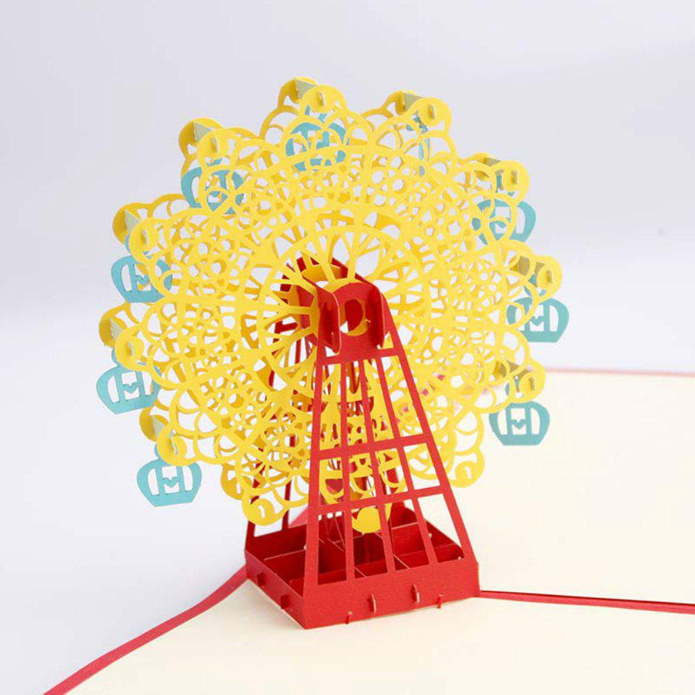 3 D Ferris Wheel Origami Paper Greeting Cards Happy Birthday Gift - RUBBER DUCKY YELLOW
