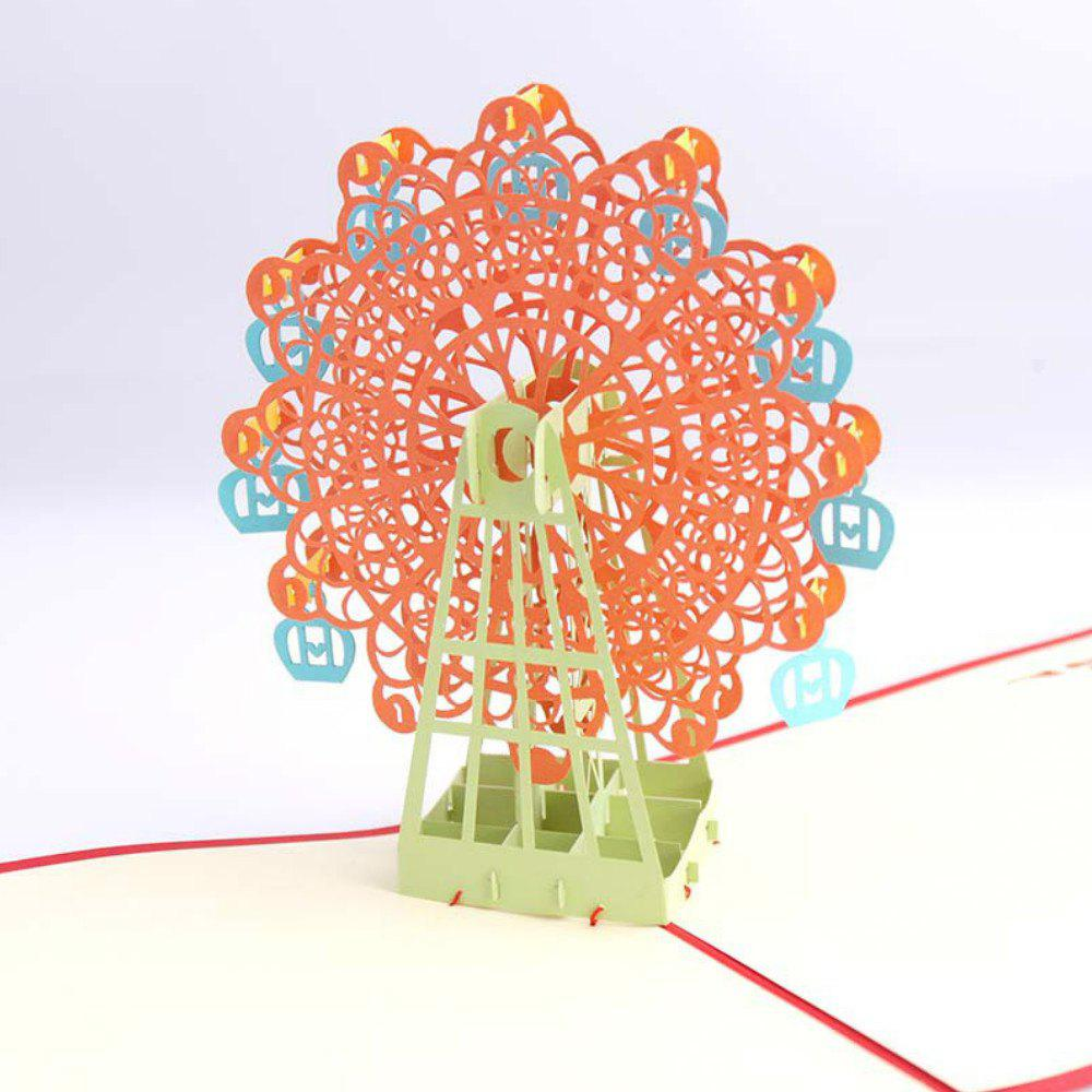 3 D Ferris Wheel Origami Paper Greeting Cards Happy Birthday Gift 3pcs lot laser cut handmade 3d pop up cards birds love greeting cards thanks giving mother father day birthday posting cards