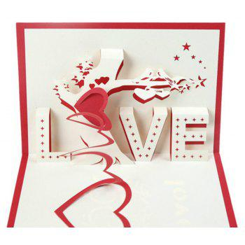 3D Love Creative Birthday Gift Card - RED