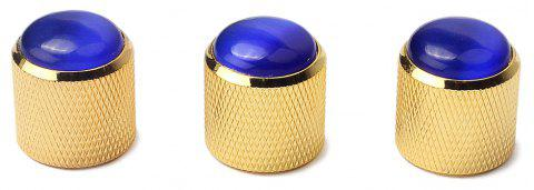 Blue Abalone Push on Guitar Knobs Electric Bass Potentiometer Cap 3PCS - GOLD