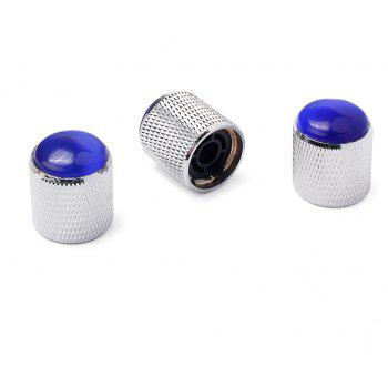 Blue Abalone Push on Guitar Knobs Electric Bass Potentiometer Cap 3PCS - SILVER
