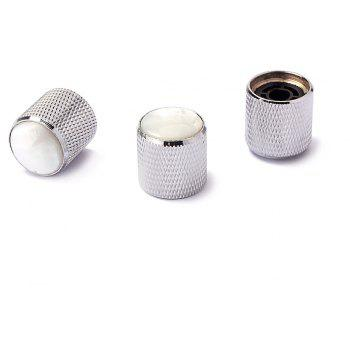 Metal Knob White Pearl Shell Inlay for Electric Guitar Bass 3PCS - SILVER