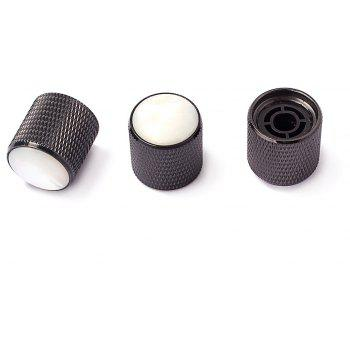 Metal Knob White Pearl Shell Inlay for Electric Guitar Bass 3PCS - BLACK