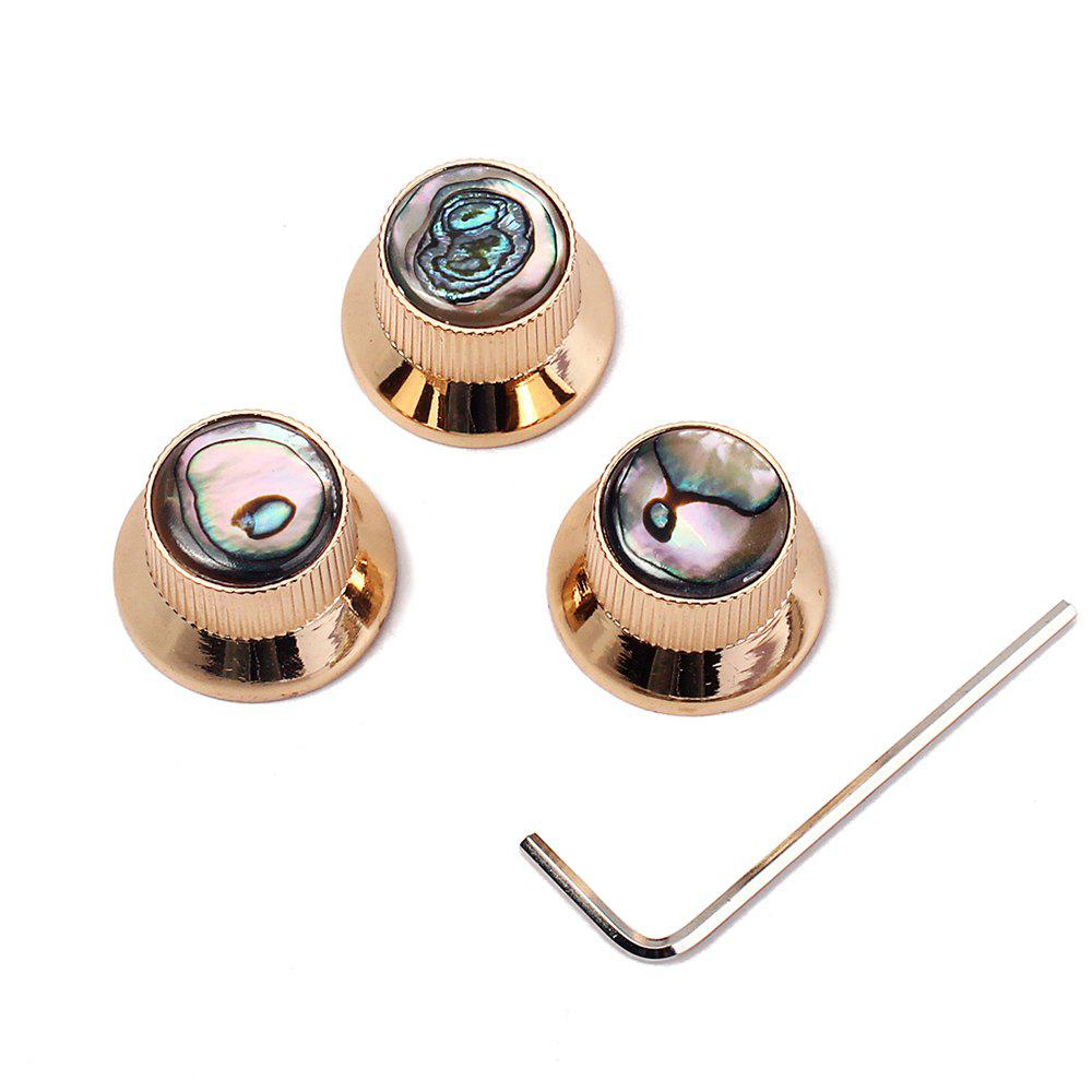 Gold Abalone Metal Bell Guitar / Bass Knob for 6mm Split Shaft 3pcs gold thumb rest for bass guitar 2pcs