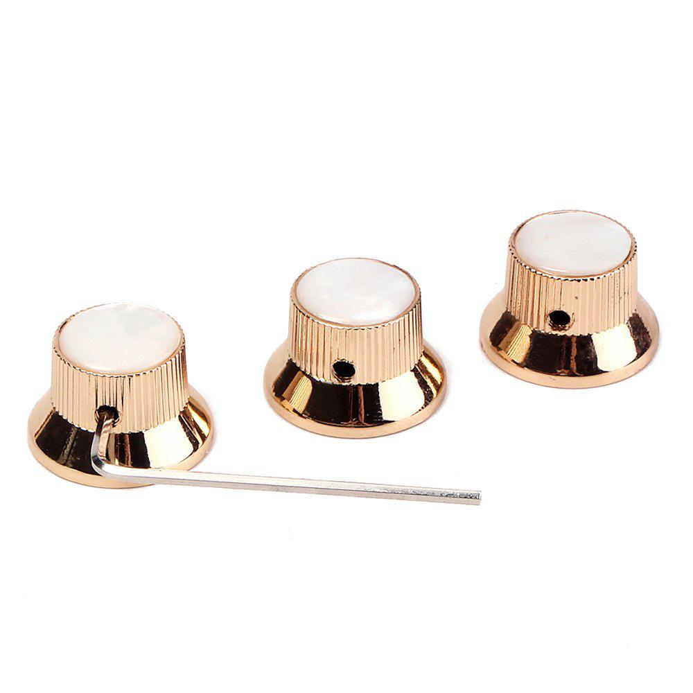 Gold Shell Metal Bell Guitar Bass Knob for 6mm Split Shaft 3pcs gold thumb rest for bass guitar 2pcs