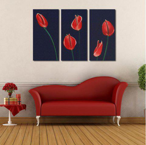 W125 Calla Lily Unframed Wall Canvas Prints for Home Decorations 3 PCS - multicolor A 15CM X 30CM X 3PC