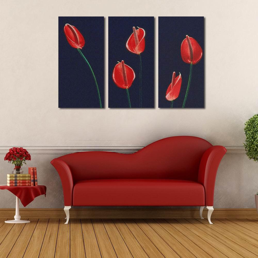 W125 Calla Lily Unframed Wall Canvas Prints for Home Decorations 3 PCS calla lily bouquet design glass coaster sets set of 2