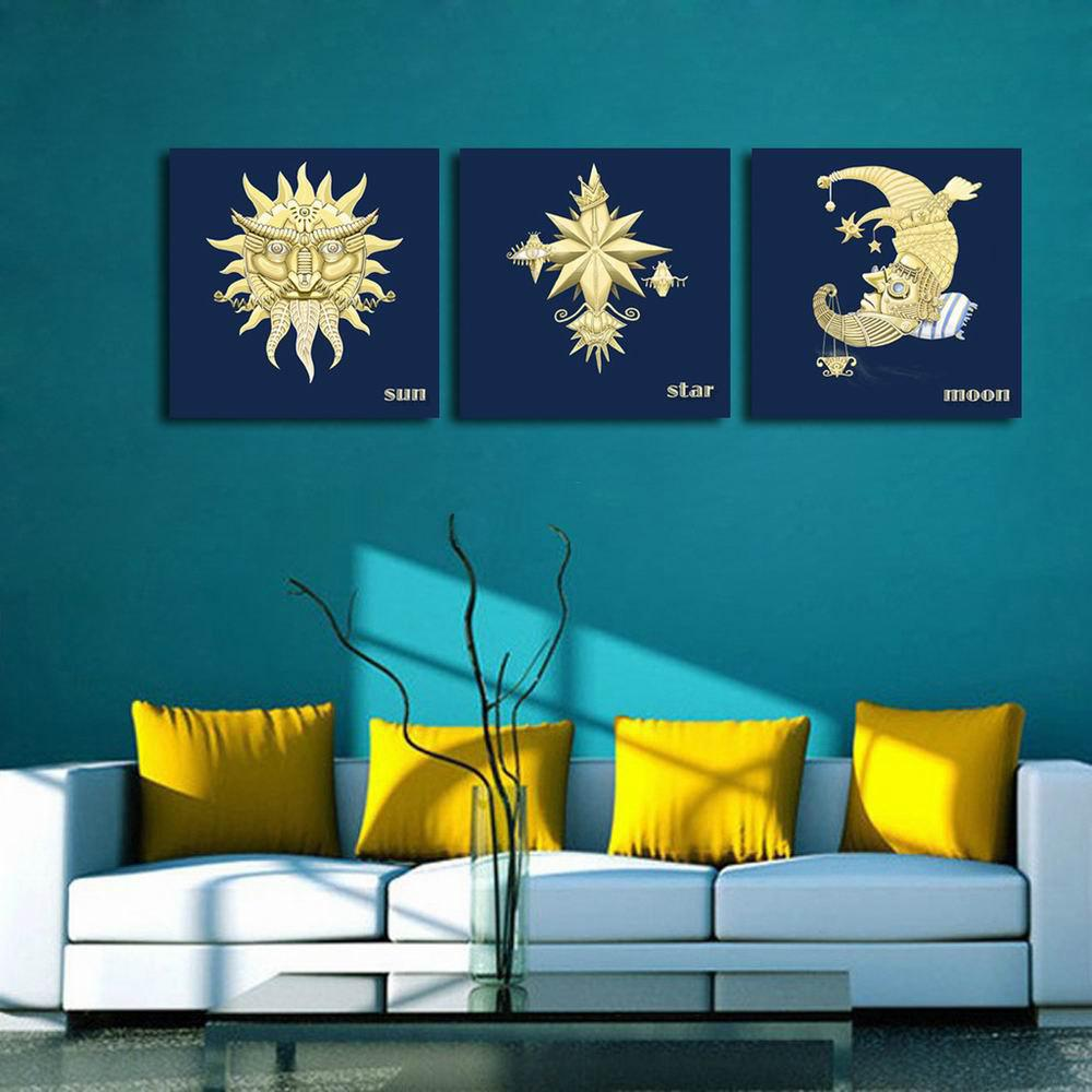 W126 Sun Moon Star Unframed Art Wall Canvas Prints for Home Decorations 3 PCS family wall quote removable wall stickers home decal art mural