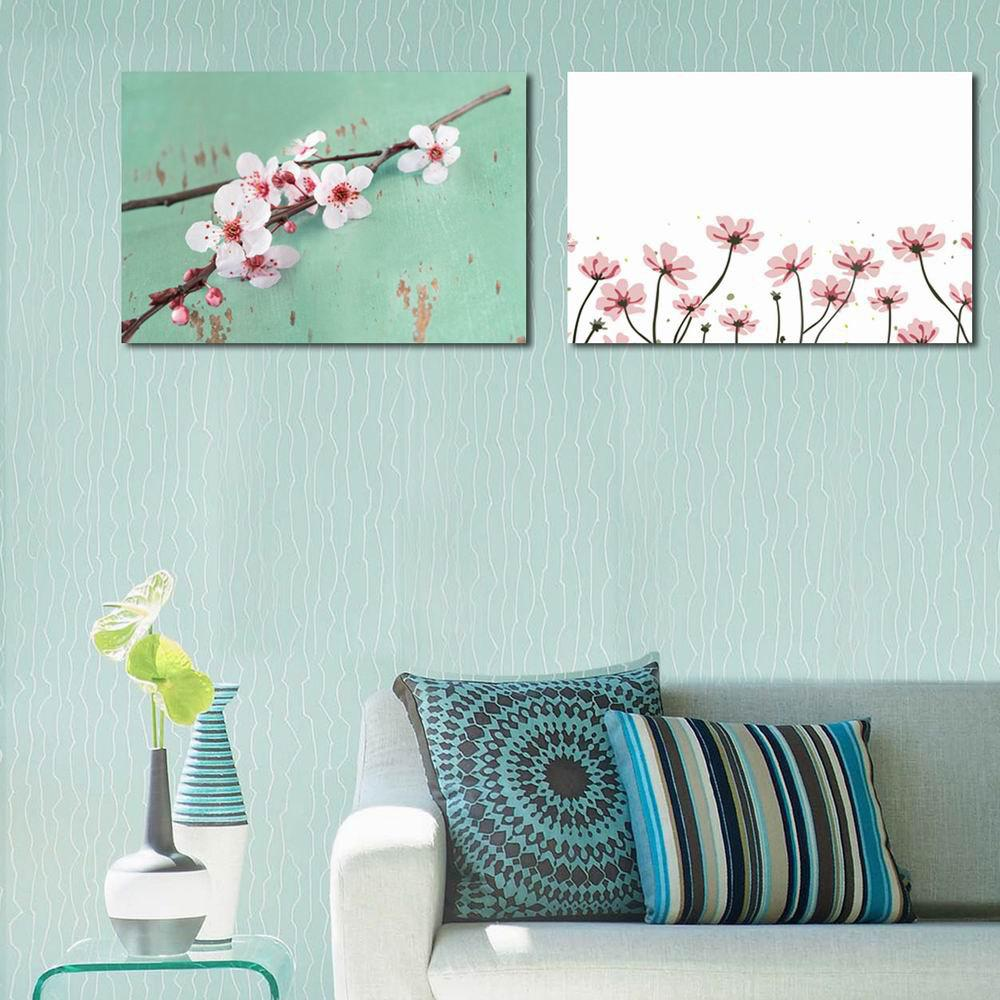 W130 Peach Blossom Unframed Art Wall Canvas Prints for Home Decorations 3 PCS oxygen winner w130