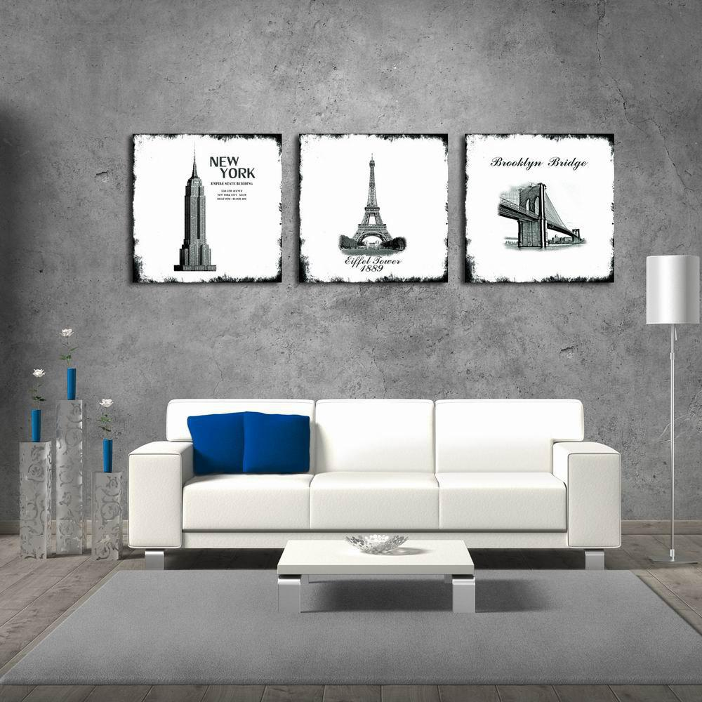 W132 Buildings Unframed Art Wall Canvas Prints for Home Decorations 3 PCS burning guitar pattern unframed wall art canvas paintings