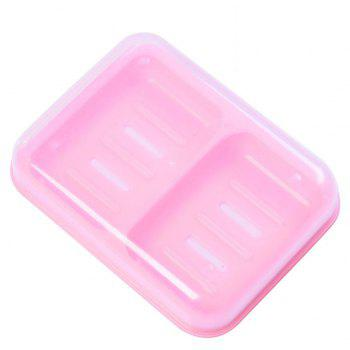 Candy Color Double Grid Lid Waterproof Soap Box Creative Drain Soap Holder - PINK 16X12.2X4CM