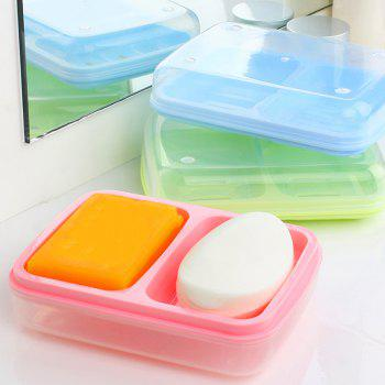 Candy Color Double Grid Lid Waterproof Soap Box Creative Drain Soap Holder - GREEN 16X12.2X4CM