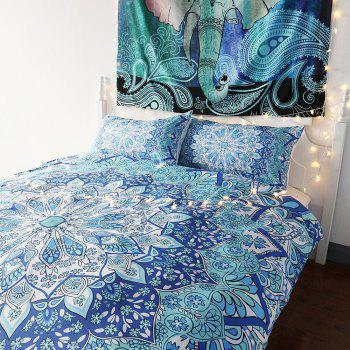 Sky Blue India Bedding  Duvet Cover Set Digital Print 3pcs - multicolor FULL
