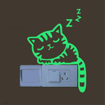 Cute  Switch Sticker Creative Kitten Cat Luminous - GREEN THUMB