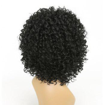 Short Afro Curly Synthetic Hair with Bang for Afircan American 4 Colors - BLACK 14INCH