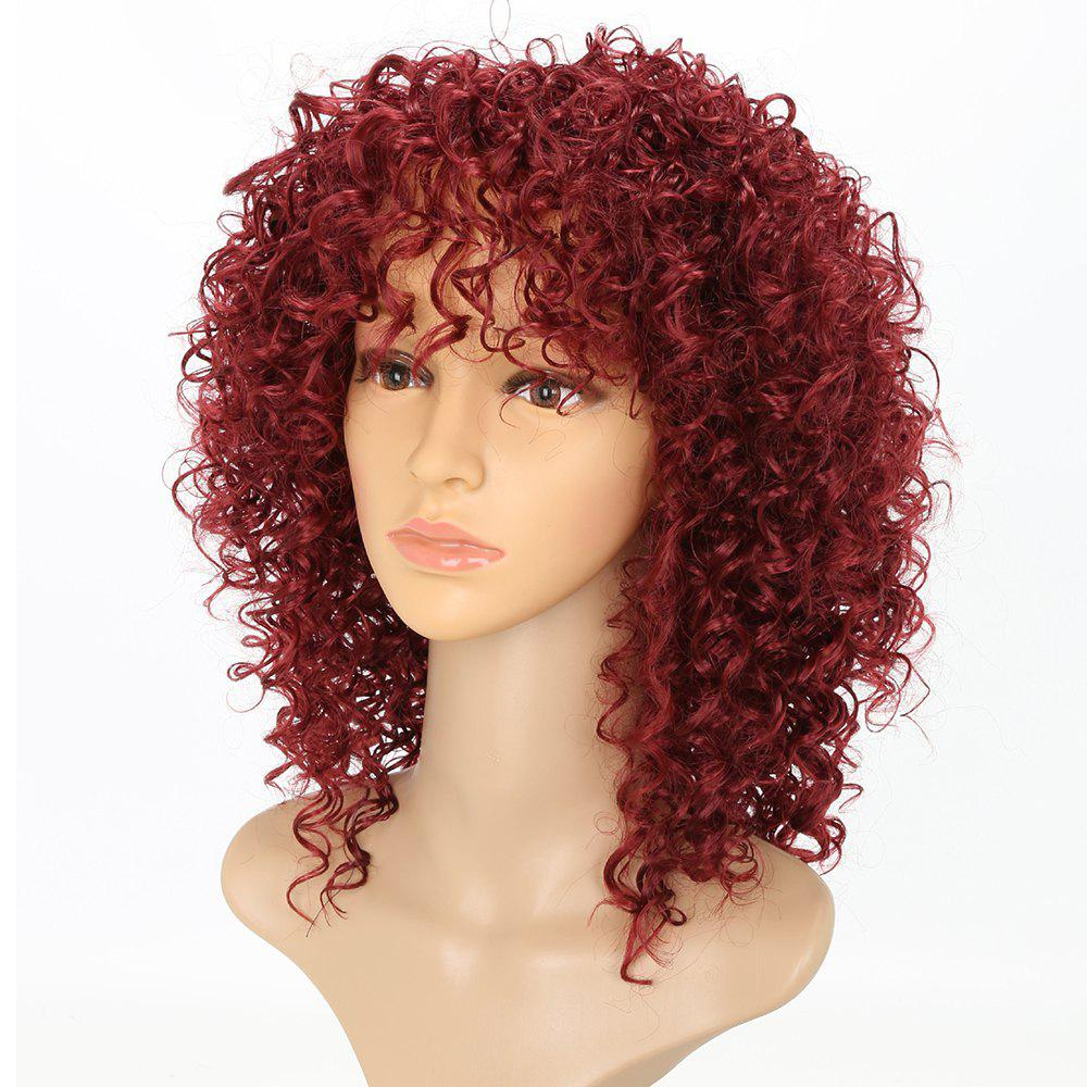 Short Afro Curly Synthetic Hair with Bang for Afircan American 4 Colors - RED WINE 14INCH