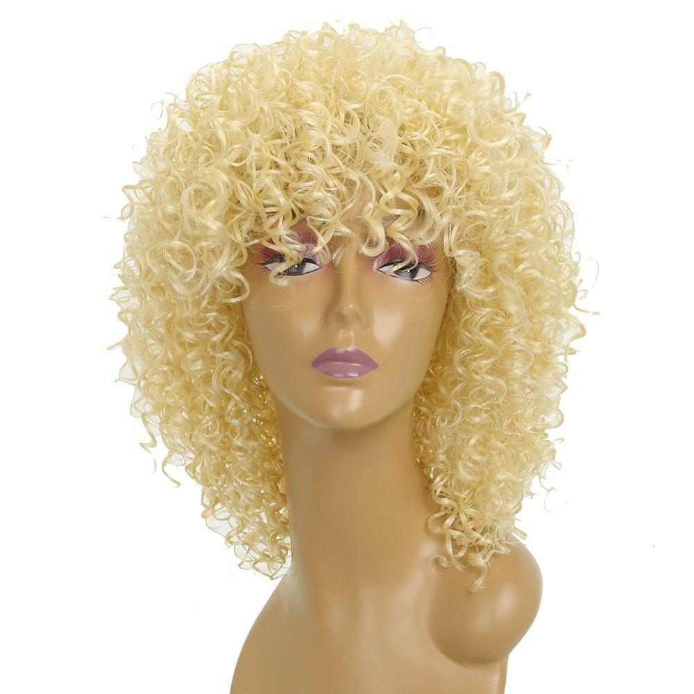 Short Afro Curly Synthetic Hair with Bang for Afircan American 4 Colors - BLONDE 14INCH