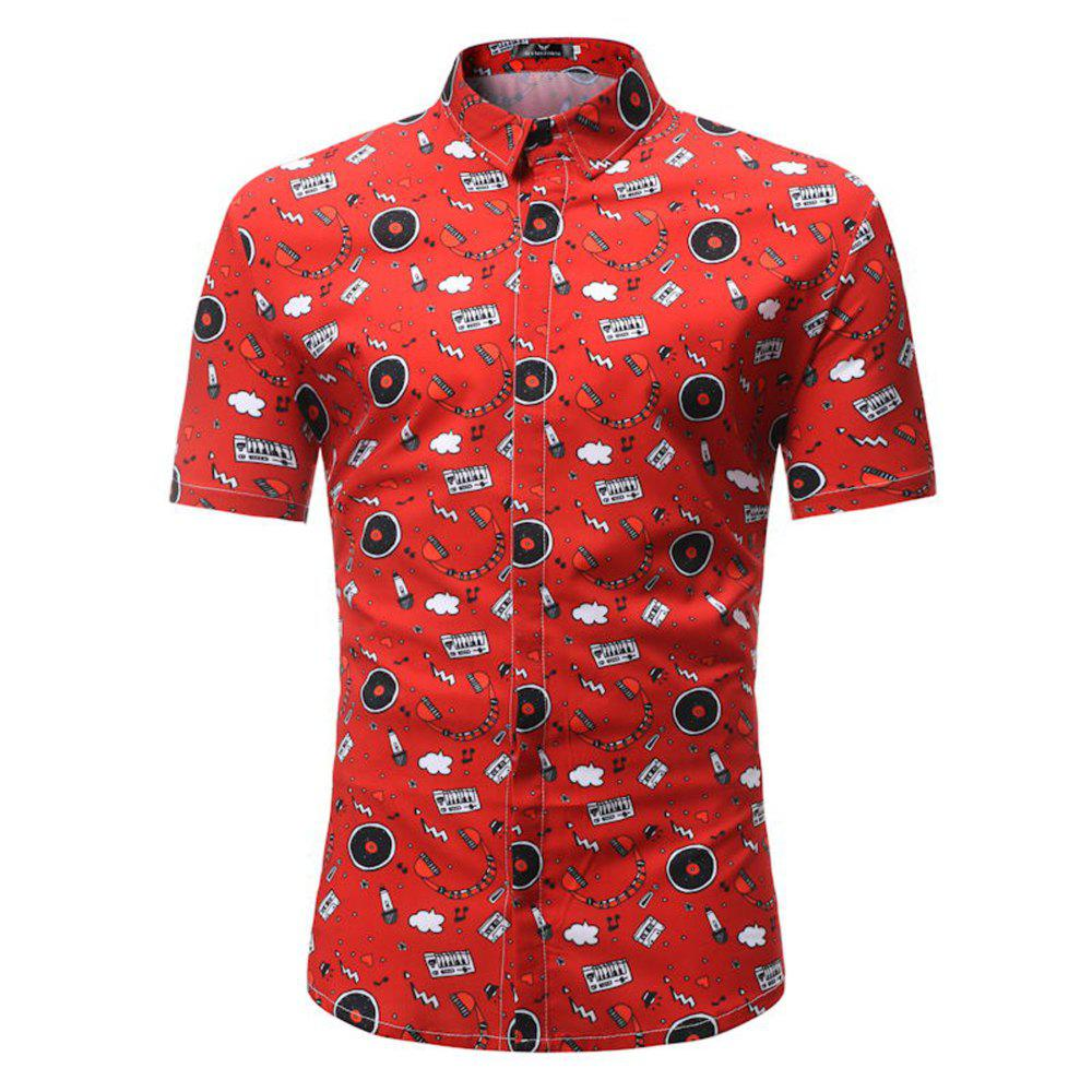 Summer New Men's Casual Short-Sleeved Shirts - RED 3XL