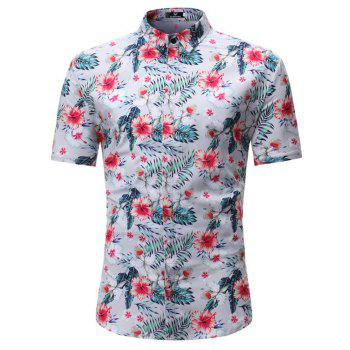 Summer New Men's Casual Short-Sleeved Floral Shirts - WHITE 3XL