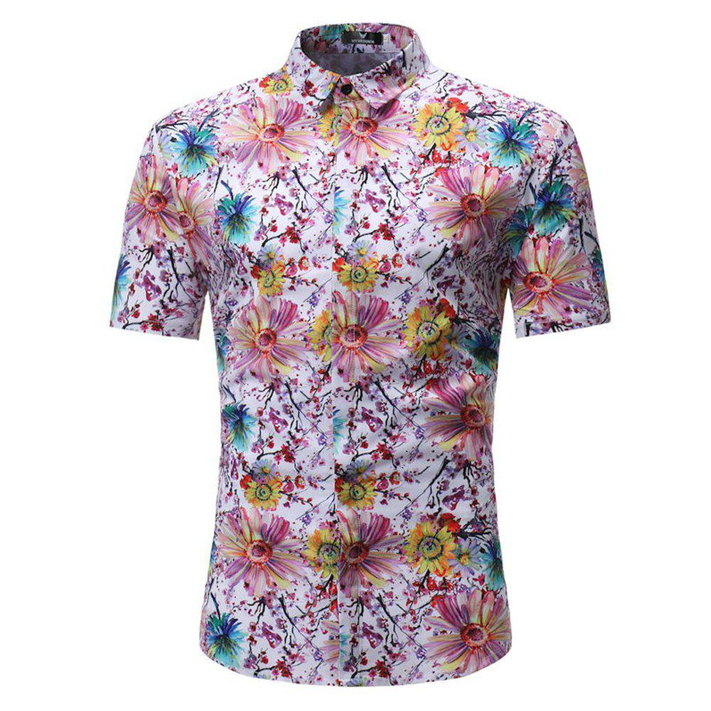Summer New Men's Casual Short-Sleeved Flower Print Shirts - PINK 2XL