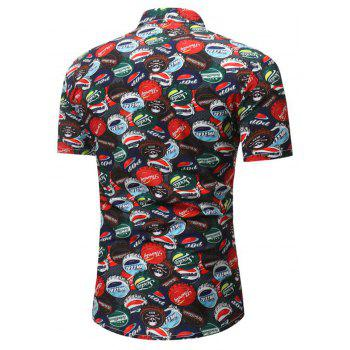 Summer New Men's Casual Short-Sleeved Beer Stamped Shirt - RED 3XL