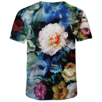 2018 Summer Mesh Fashion 3D Printed Short-Sleeve T-Shirt - multicolor A S