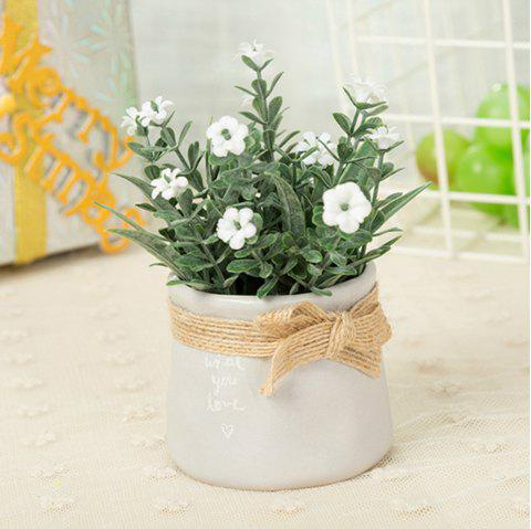 WX-C29-1679 Home Decoration Ceramic Decorative Small Flower Pot - WHITE