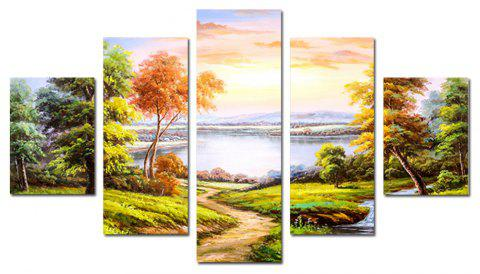 QiaoJiaHuaYuan Modern Sitting Room Sofa Background Natural Scenery 5PCS - multicolor