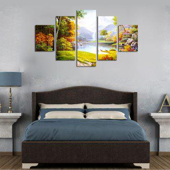 QiaoJiaHuaYuan No Frame Canvas Natural Landscape Painting 5PCS - multicolor