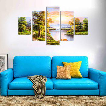 QiaoJiaHuaYuan No Frame Canvas Sofa Background Natural Landscape Painting 5PCS - multicolor