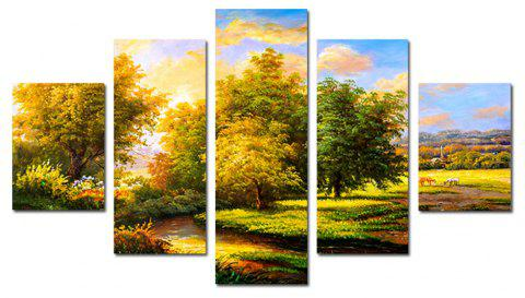 QiaoJiaHuaYuan Modern Living Room Sofa Background Nature Landscape Print 5PCS - multicolor