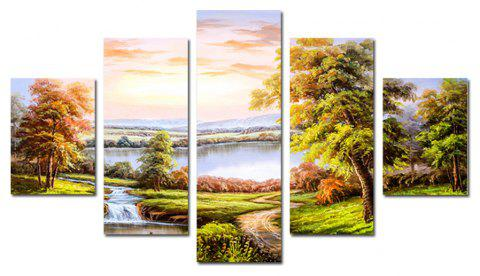 QiaoJiaHuaYuan No Frame Canvas Modern Living Room Sofa Background Scenery 5PCS - multicolor