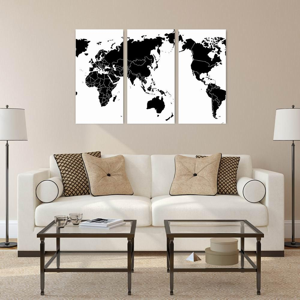 Фото W136 World Map Art Wall Canvas Prints for Home Decorations 3 PCS family wall quote removable wall stickers home decal art mural