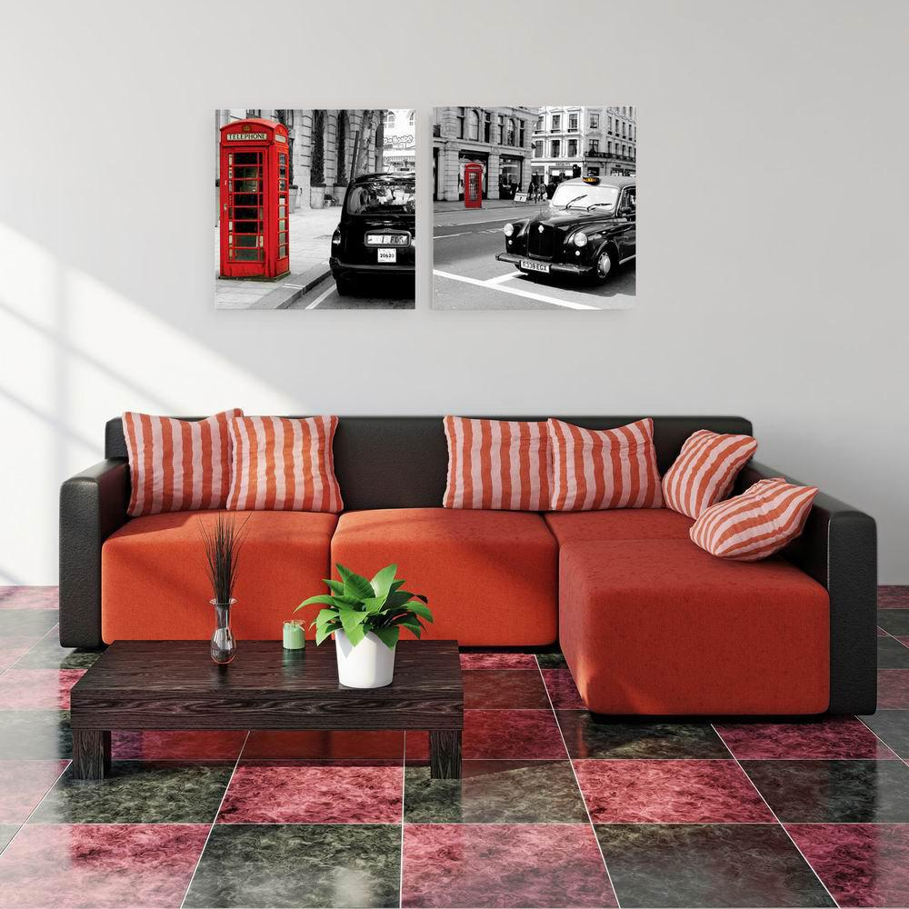 W141 Street Scenery Unframed Art Wall Canvas Prints for Home Decorations 2 PCS family wall quote removable wall stickers home decal art mural