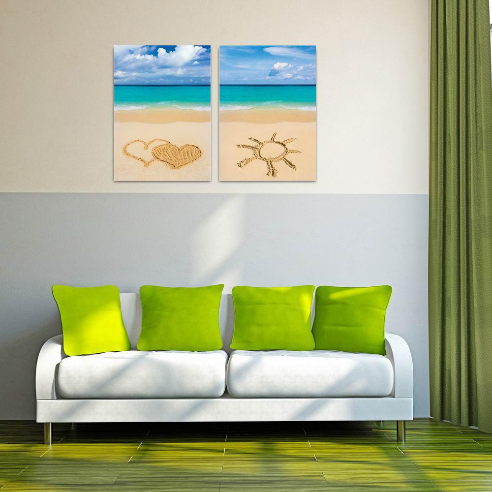 W142 Beach Unframed Wall Canvas Prints for Home Decorations 2 PCS - multicolor A 50CM X 70CM X 2PC