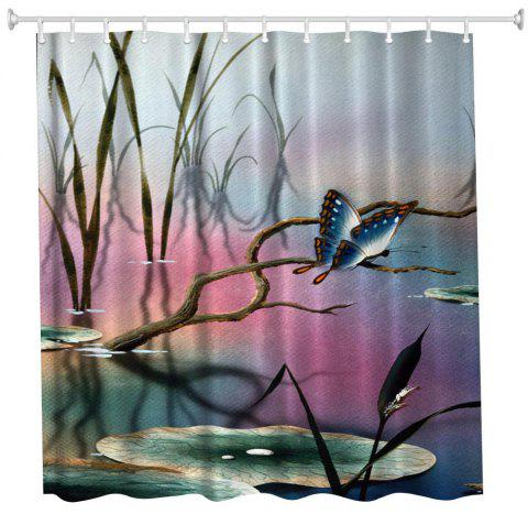 Lotus Leaf Butterfly Water Proof Polyester 3D Printing Bathroom Shower Curtain