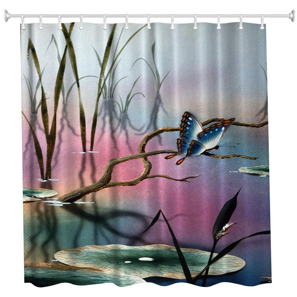 Lotus Leaf Butterfly Water-Proof Polyester 3D Printing Bathroom Shower Curtain lotus landscape print 180 180cm polyester shower curtain