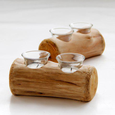 Double Holes Wood Candle Holders Tealight Candlestick - WOOD