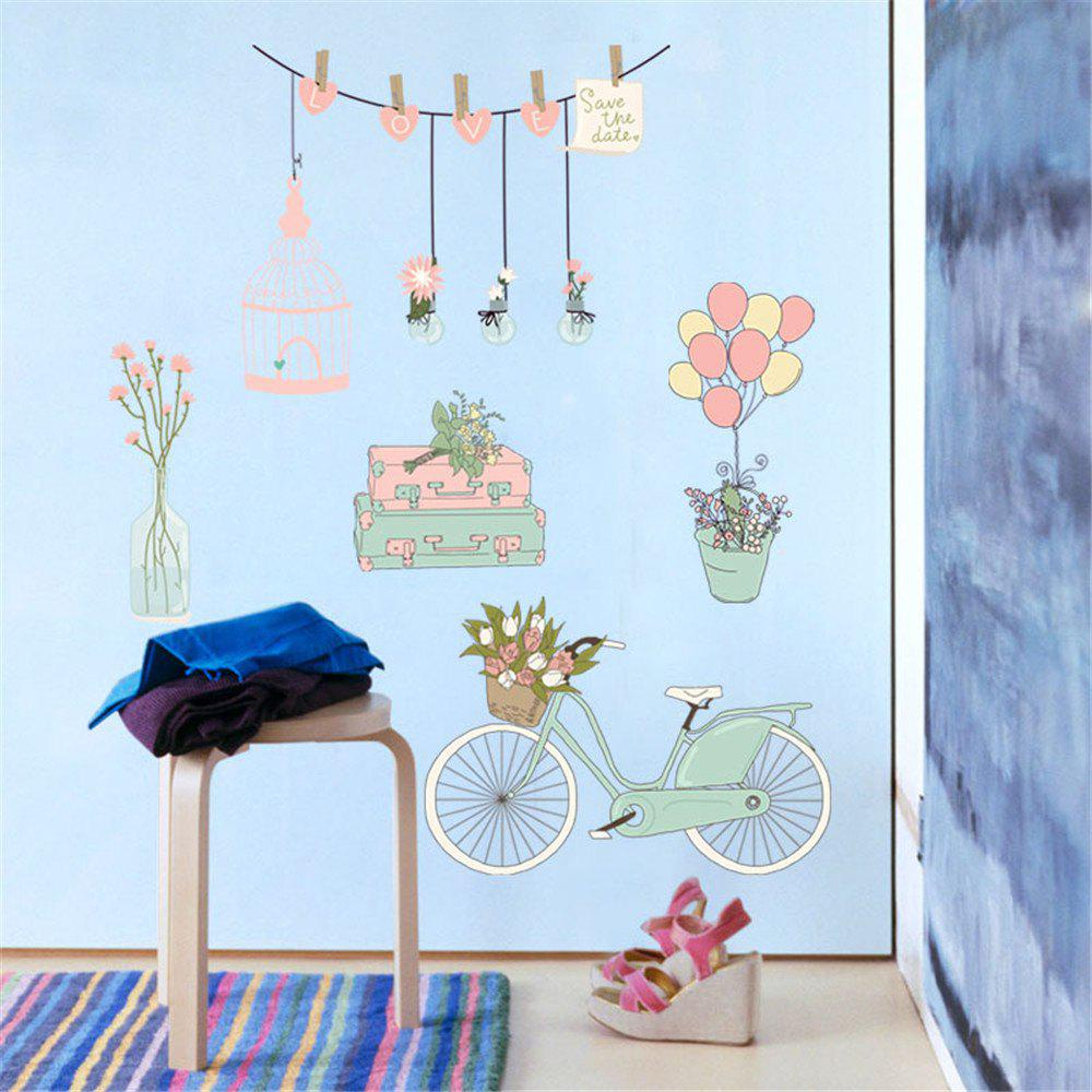 Bicycle Balloon Wall Sticker for Kids Room Decoration - multicolor