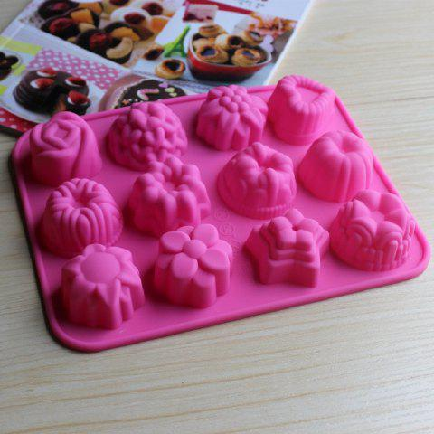 Silicone Mold 12 Holes Jelly Soap Mold Baking Cake Decorating Tools - VIOLET RED
