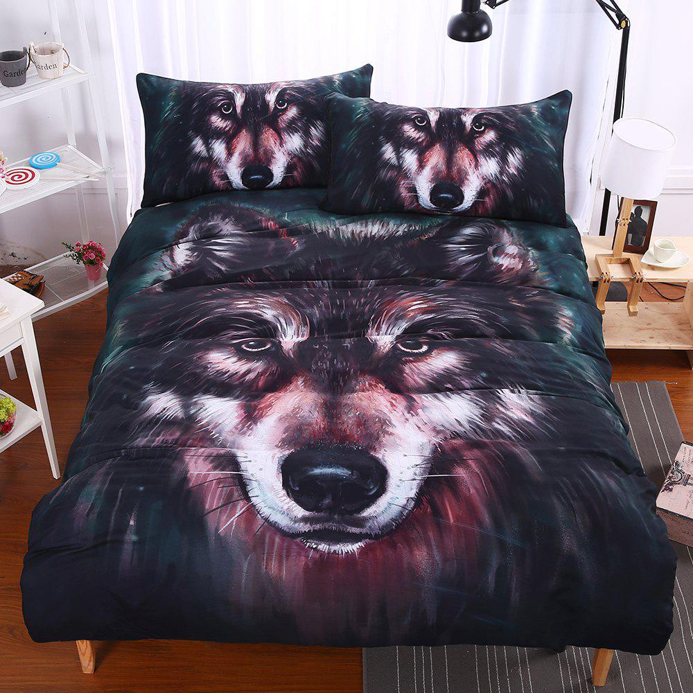 Wolf Bedding  Duvet Cover Set Digital Print 3pcs - multicolor QUEEN