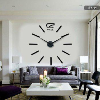 Living Room Creative Clock Wall Stickers - BLACK