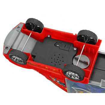 Container Truck with 12 Alloy Car Puzzle Simulation Model Chess Sound Toy Gift - RED