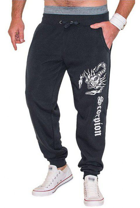 New Men's Casual Scorpion Printed Design Pants - DARK GRAY L