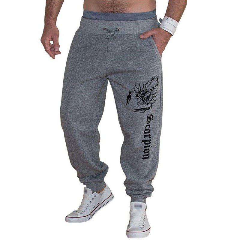 New Men's Casual Scorpion Printed Design Pants - LIGHT GRAY L