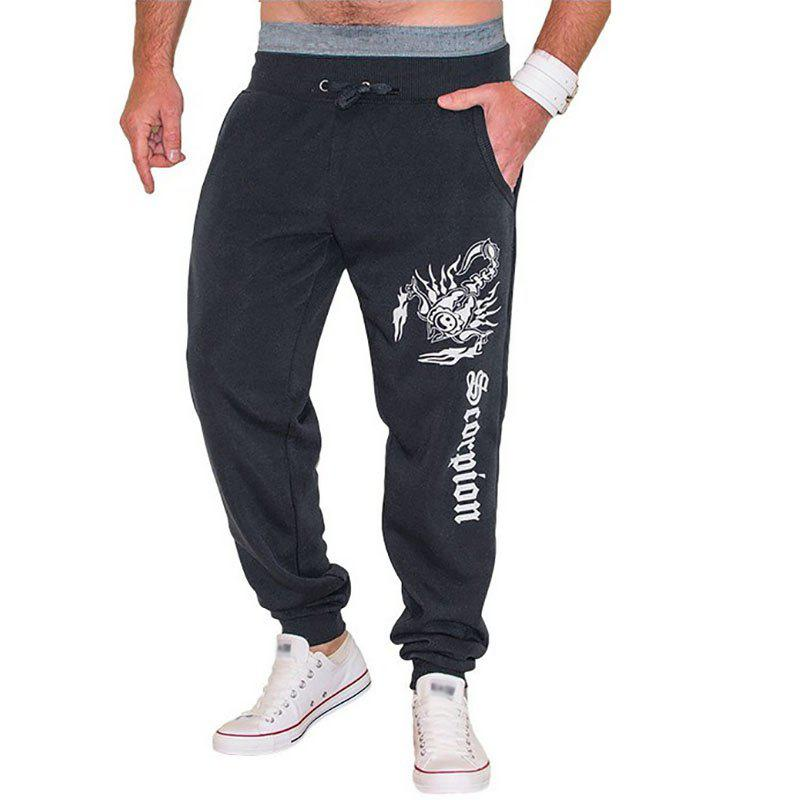 New Men's Casual Scorpion Printed Design Pants - DARK GRAY 2XL