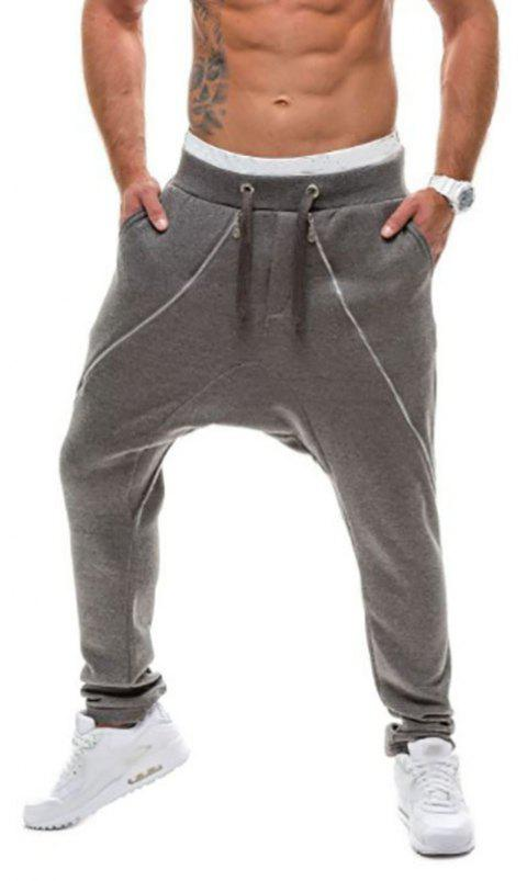 New Men's Double Zipper Design Pants Fashion Casual Pants - DARK GRAY XL