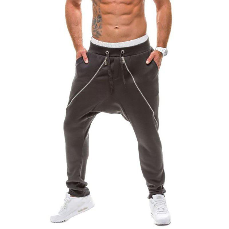 New Men's Double Zipper Design Pants Fashion Casual Pants - BLACK M